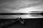 canoes in sunset
